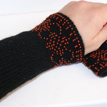 Handmade Beaded black Wrist warmers with red ornament, cuffs with white beads, wool, Ready to ship