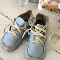Old Pair of Blue Leather Baby Shoes by Somethingcharming on Etsy