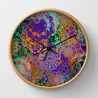 CHEERFUL FLORAL PATTERN I Wall Clock by Pia Schneider [atelier COLOUR-VISION]