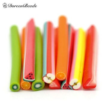 Mixed Fruit Polymer Clay Nail Art Canes Decoration 5x0.5cm(2'x1/4') Sold Per Packet Of 50 (b16222)