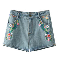 Blue Lightwash Embroidery Floral Denim Shorts