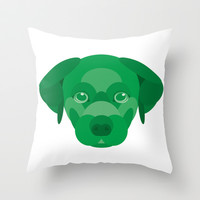 Green Puppy Throw Pillow by Natalie Ryder