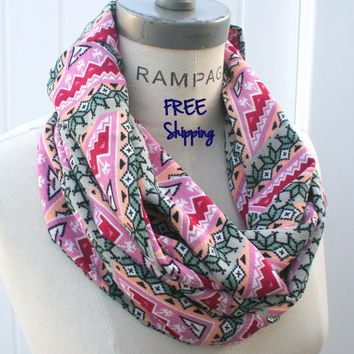Tribal Scarf African Print Infinity Scarf Multicolor Scarf Tribal Print FREE SHIPPING Scarf- by PIYOYO