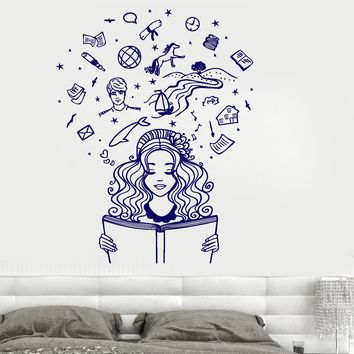 Wall Vinyl Decal Girl Reading A Book Imagination Fantasy Fairy Tale Romantic Unique Gift z3795