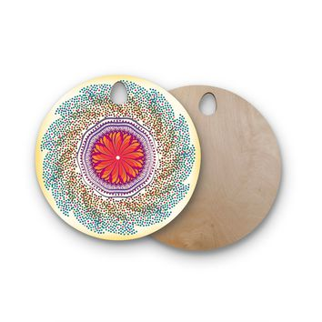 "Famenxt ""Confetti Dots Mandala"" Multicolor Abstract Round Wooden Cutting Board"