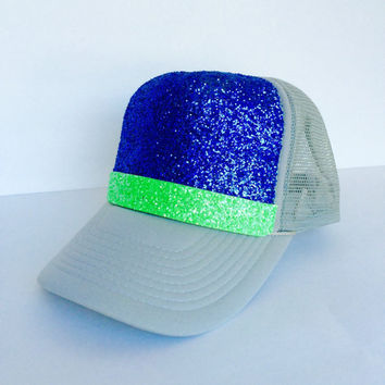 Blue and Neon Green Glitter Hat