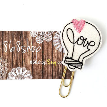 Love Lightbulb Sparkle Glitter Planner Clip| Paper clips| Planner Accessory| Journal Marker| Bookmark| Teachers| Friends| Gifts