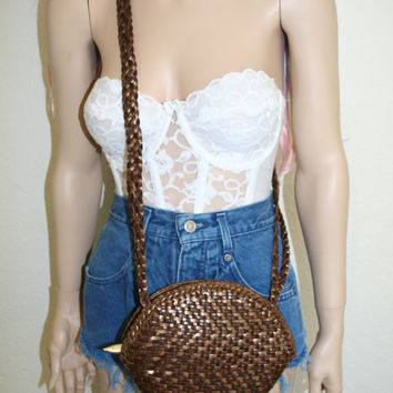 70s 80s breaded woven leather cross body purse bag grunge festival hipster boho adventure bag steam punk satchel srteampunk