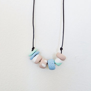 Spring geometric necklace / polymer clay pastel necklace