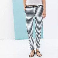 Striped Print Pencil Pants With Pocket