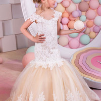 Mermaid Lace Arabic Flower Girl Dresses for Weddings Champagne Tulle Baby Girl Communion Dresses Children Girl Pageant Gown