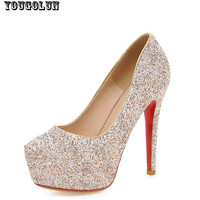 Sexy Women Glitter Wedding High Thin Heels(13cm) Fashion Ladies Wedding Pumps Lady Red Bottom Party Shoes Black White Gold Shoe
