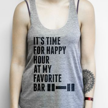Time for Happy Hour at My Favorite Bar on an Athletic Grey Racerback