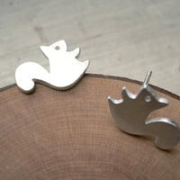 Sterling Sliver plated Cute Simple Squirrel Sliver Earrings