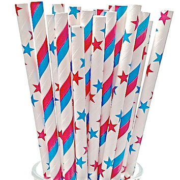 Stars & Stripes Paper Straws - 4th Of July- Proud American! set of 50 w/ DIY Straw Flags Summer BBQ Made In USA