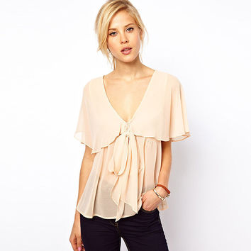 Deep V-Neck Bow Lace Loose Chiffon Top