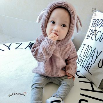 Cute Rabbit Ear Baby Boys Sweaters Pure Red Sweaters for Girl Knitted Winter Baby Jacket Winter Clothes for Newborn Sweater