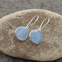 Blue Chalcedony Beautiful Faceted Heart Shape 925 Sterling Silver Earring, 12mm - #1520
