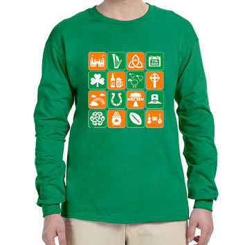 Men's Long Sleeve Irish Icons St Patrick's Day Symbols Top