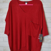 Kerisma Raven Slouchy Knit Sweater Pocket Top - Scarlet