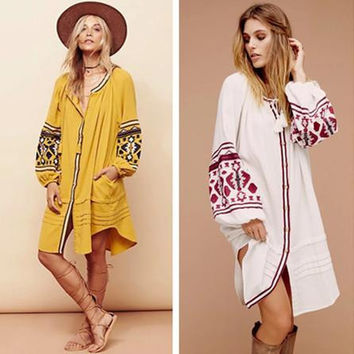"""Free People"" Fashion Retro Embroidery Single Row Buttons Long Sleeve Cardigan Mini Dress"