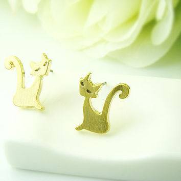 Simple Lady Cat Earrings Kitty Animal Jewelry Gold Silver gift idea
