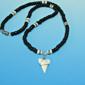 Shark Tooth Necklace Coconut Beads Puka Shell Hawaiian Beach Surfer SUP 18 Inches Girls Women 7085 W