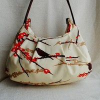 Pleated Bag  Sparrows in Bark by lireca on Etsy