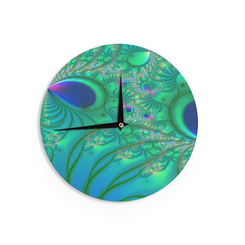 "Alison Coxon ""Fractal Turquoise"" Wall Clock"