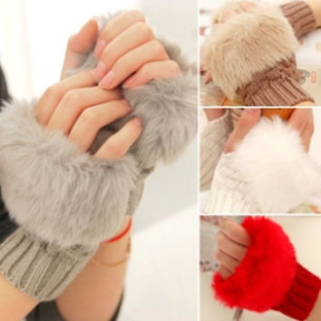 Women's Lovely Diamond Imitation Rabbit Hair Knitted Gloves Warm Half Finger Winter Gloves = 1958005700