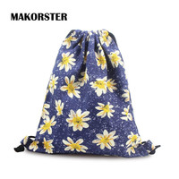 MAKORSTER summer Canvas backpack beach drawstring bag String Floral Fashion teenage girl Backpacks for Women journey bags MK007
