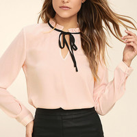 Tea Shop Blush Pink Long Sleeve Top