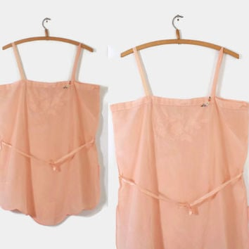 20s LINGERIE Boudoir Step-In TEDDY / 1920s Peach Matte SILK Embroidered Romper L