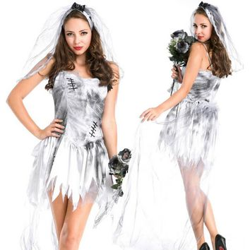 Adult female cosplay costume high quality masquerade horror vampire ghost bride dress cosplay dress white tulle