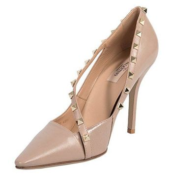 Valentino Rockstud D'Orsay Beige Leather 100mm Pumps