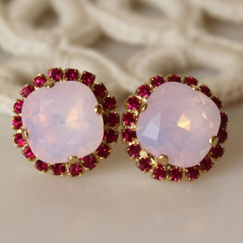 Pink Opal... Swarovski Crystal... Cushion Cut Diamond... Pink Halo Square Rhinestone Stud Earrings... Rosewater Opal Fuchsia Earrings