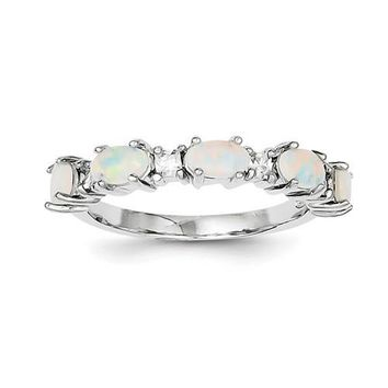 Sterling Silver Created White Opal & CZ Ring