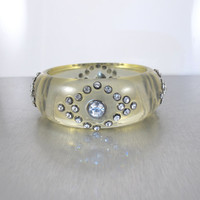 Vintage Lucite Rhinestone Bracelet, Chunky Statement Clear Lucite Bangle Bracelet, 1960s Boho Chic Jewelry