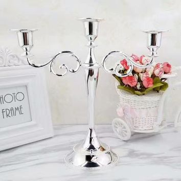 4 colors! Silver/Gold/Bronze/Black 3-arms metal candle holder