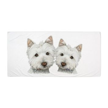 TWO CUTE WEST HIGHLAND WHITE DOGS BEACH TOWEL