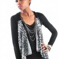 Leopard Print Open Crochet Vest - Diva Hot Couture