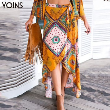 Fashion Women Retro Bohemian Tribal Print High Waist Front Slits Irregular Hem Maxi Skirt