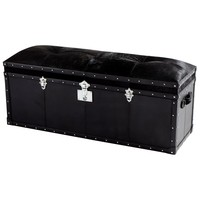 Casselton Black Cowhide & Leather Storage Trunk by Cyan Design
