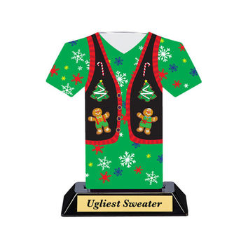 Ugly Christmas Sweater, Award, Christmas Sweater Award, Ugly Sweater Party, Ugly Sweater Contest, Green Sweater Trophy, Christmas Award