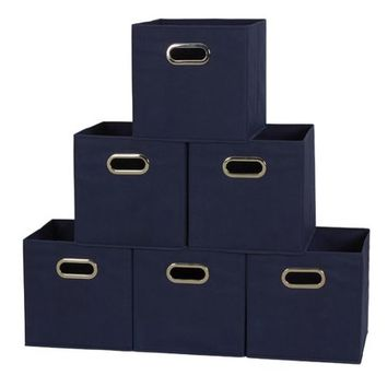 HOUSEHOLD ESSENTIALS Open Fabric Storage Cube Bins, Set of 6, Navy - Walmart.com