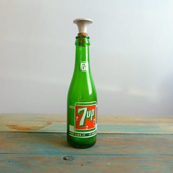 Vintage Retro Green Glass 7up Bottle with Cork and Shaker