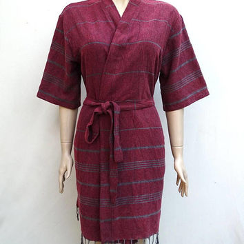 Women's burgundy colour Turkish stone washed cotton soft kimono bathrobe, kimono dressing gown, beach robe, pool robe.