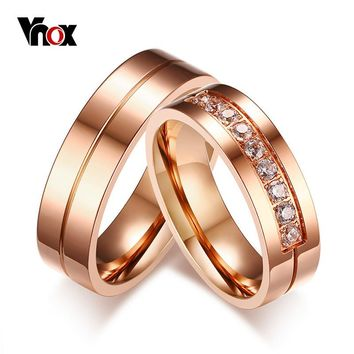 Vnox Trendy Wedding Bands Rings for Women / Men Love Rose Gold-color Stainless Steel CZ Promise Jewelry alliance anel