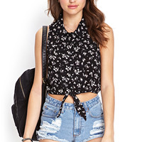 FOREVER 21 Floral Self-Tie Shirt
