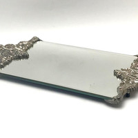 Vintage Mirrored Vanity Tray, Godinger Silver Art Co, Dresser Tray with Mirror, circa 1980s